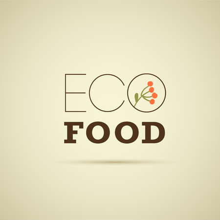 Vector eco food logo design template with floral brunch isolated on light background. Good for food market emblem, organic products label, healthy food badge, packaging, cafe, restaurant insignia etc.