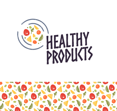Vector healthy products logo design template with plate, food icon and seamless pattern isolated on white background. For eco food shop, farmers market, fresh products store, cafe, food truck emblem.