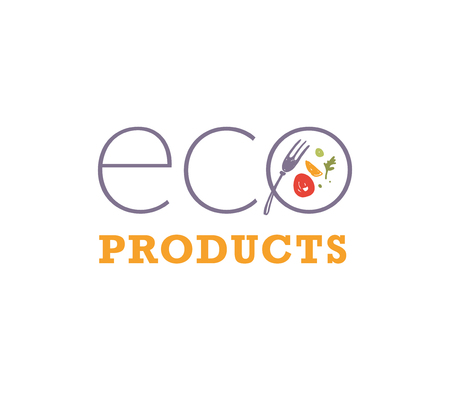 Vector eco products food logo design template with dish, meal and fork icons isolated on white background. For vegan food store, farmers market, natural bio products insignia, labels, packaging etc.