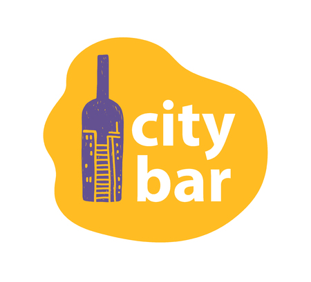 Vector city bar logo design template with hand drawn wine bottle and city view on it isolated on white background. For pub and urban city bar identity, cafe and restaurant label, wine pub insignia etc Ilustrace