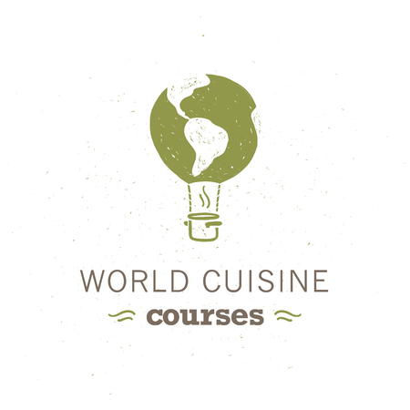 Vector food classes logo design template with flying air balloon, world map on it, pot icon isolated on white background. Hand drawn  style. For world cuisine courses, cooking workshops insignia etc.