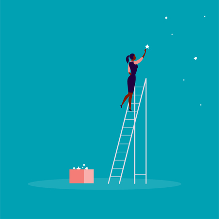 Vector business concept illustration with business lady standing on stairs and reaching star on the sky. Blue background. Reach your dream, aspirations and solutions - metaphor. Ilustrace