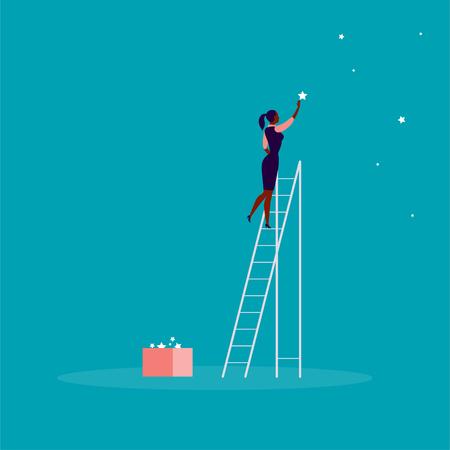 Vektorgeschäftskonzeptillustration mit Geschäftsdame, die auf Treppen steht und Stern am Himmel erreicht. Blauer Hintergrund. Erreichen Sie Ihren Traum, Ihre Wünsche und Lösungen - Metapher.