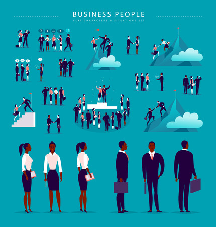 Vector flat illustration with business people office characters & metaphor isolated on blue background. Concept portraits for different business situations - partnership, idea, achievement, aspiration
