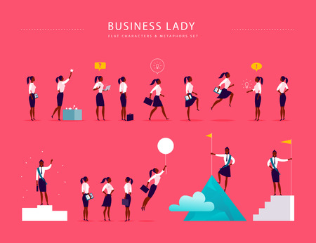 Flat illustration with business lady office characters & metaphors isolated on pink background. Concepts portraits for different business situations - leadership, idea, achievement, aspirations