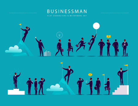 Flat illustration with businessman office characters & metaphors isolated on blue background. Concepts portraits for different business situations - leadership, idea, achievement, aspirations.