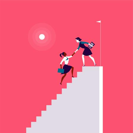 Ilustración plana con señoras de negocios subiendo encima de escaleras blancas juntas sobre fondo rojo. Victoria, logro, alcanzar el objetivo, asociación, motivación, equipo femenino, feminismo: metáfora.