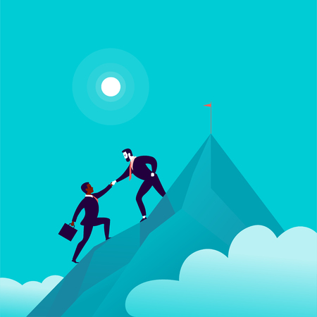 Flat illustration with business people climbing together on mountain peak top on blue clouded sky background. Team work, achievement, reaching aim, partnership, motivation, support, - metaphor.