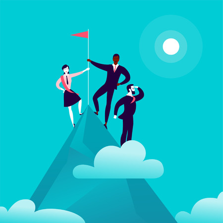 Flat illustration with business people standing on mountain peak top holding flag on blue clouded sky background. Victory, achievement, reaching aim, partnership, motivation, leader - metaphor.