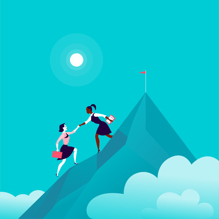 Flat illustration with business ladies climbing together on mountain peak top on blue clouded sky background. Team work, achievement, reaching aim, partnership, motivation, support, - metaphor. Ilustrace