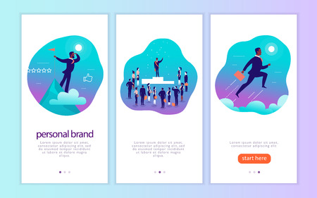 Vector mobile app interface concept design with mans personal brand theme. Victory metaphor for successful businessman. Landing page, UI site template design. Web banner, mobile app illustration.