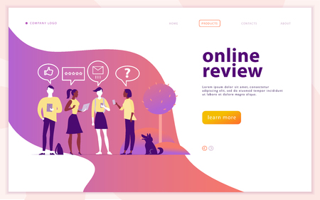 Web page concept design with online review theme. People with mobile device - laptop, tablet, smartphone - giving stars, rating. Thumb up, stars line icons. Landing page, mobile app, site. Ilustração