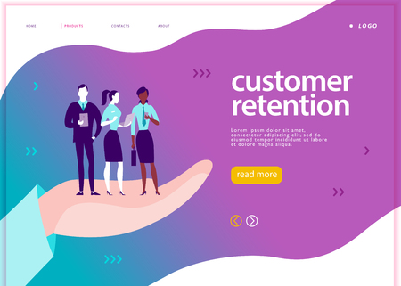 Vector web page concept design - customer retention theme. Office people with mobile device stand on big human hand. Landing page, mobile app, site template. Business illustration. Inbound marketing.