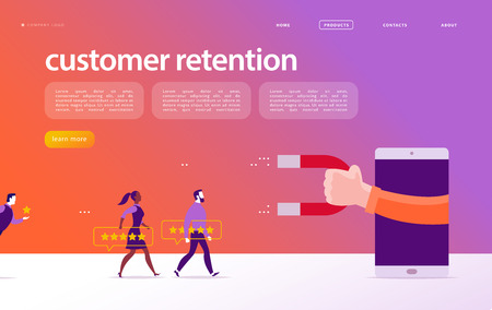 Vector web page concept design, customer retention theme. People give star rating positive feedback, human hand, magnet. Landing page mobile app site template. Business illustration. Inbound marketing Stockfoto - 122107983