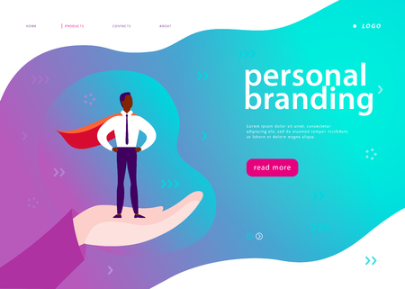 Vector web page template for personal branding, business communication, consulting, planning. Landing page design. Businessman standing as super hero on human hand. Web banner, mobile app illustration