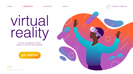 Vector landing page design template for new vr technology: man in vr goggle headset  helmet  glasses in augmented abstract virtual reality world. Flat style. Good for web page banner, mobile app, UI
