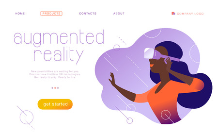 Vector landing page design template for new vr technology - woman in vr goggle headset / helmet / glasses in abstract augmented virtual reality. Flat style. Concept for web page banner, mobile app, UI