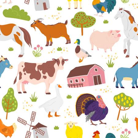 Vector flaches nahtloses Muster mit handgezeichneten Nutztieren, Bäumen, Vögeln, Haus isoliert auf weißem Hintergrund. Gut für Verpackungspapier, Karten, Tapeten, Geschenkanhänger, Kinderzimmerdekoration usw.