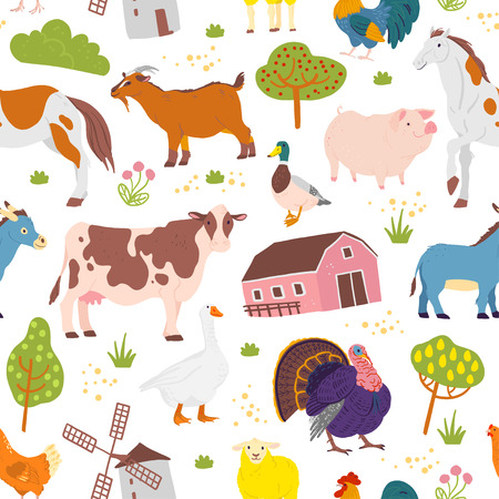 Vector flat seamless pattern with hand drawn farm domestic animals, trees, birds, house isolated on white background. Good for packaging paper, cards, wallpapers, gift tags, nursery decor etc. Vettoriali