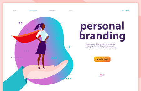 Vector web page template - personal branding, business communication, consulting, planning. Landing page design. Business lady standing as super hero on human hand. Web banner, mobile app illustration Çizim