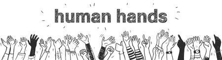 Ilustración de estilo de boceto dibujado a mano de vector con manos humanas de color negro diferentes colores de piel saludando y saludando aislado sobre fondo blanco Multitud, fiesta, concepto de venta. Para publicidad, embalaje. Ilustración de vector