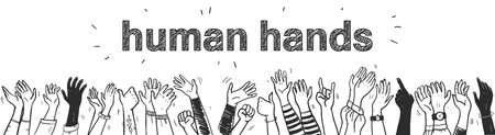 Vector hand drawn sketch style illustration with black colored human hands different skin colors greeting & waving isolated on white background. Crowd, party, sale concept. For advertising, packaging.