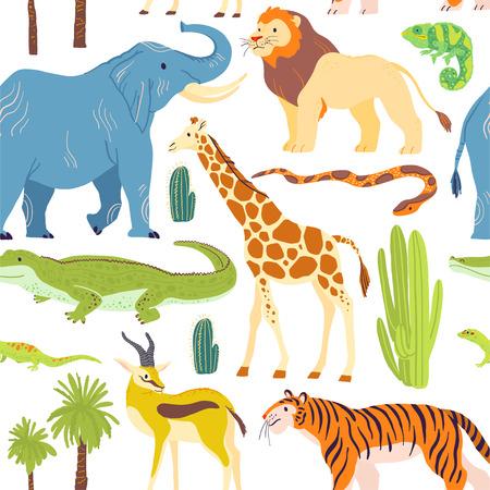 Modèle sans couture plat de vecteur avec des animaux du désert dessinés à la main, des reptiles, des palmiers, des cactus isolés sur fond blanc.