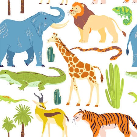 Vector flat seamless pattern with hand drawn desert animals, reptiles, palm trees, cactus isolated on white background.