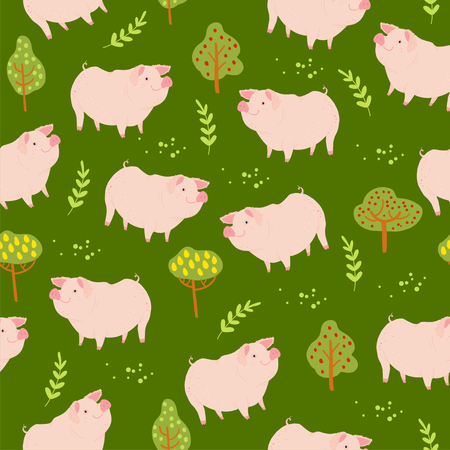 Vector flat seamless pattern with hand drawn cute farm domestic pig animals, trees plant elements isolated on green background. For packaging paper, cards, wallpapers, gift tags, nursery decor etc.