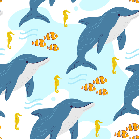 Vector flat seamless pattern with hand drawn marine animals, clown fish, seahorse, dolphin, water isolated on white background. Good for packaging paper, cards, wallpaper, gift tags, nursery decor etc Illustration