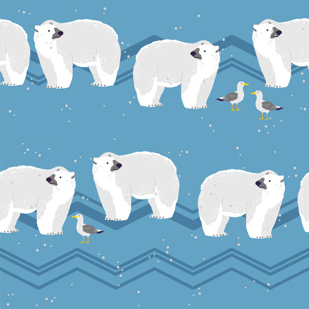 Vector flat seamless pattern with hand drawn north polar bear animals, snow, seagull, mountains on winter landscape. Good for packaging paper, cards, wallpapers, gift tags, nursery decor etc.