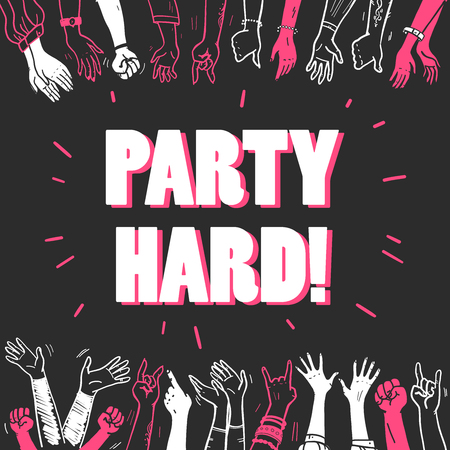 Vector party or concert flayer, invitation, banner, poster design template with crowd, human hands illustration and heading isolated on black background. Hand drawn sketch style, outline drawing.