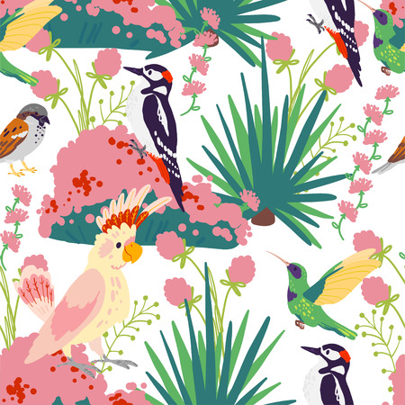 Vector flat seamless tropical pattern with hand drawn jungle plants, exotic birds and floral wild nature elements isolated on white background. Good for packaging paper, cards, wallpapers, gift tags.