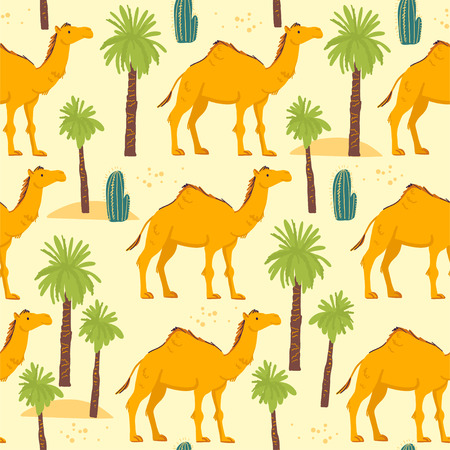 Vector flat seamless pattern with hand drawn desert camel animals, cactus and palm trees isolated on yellow background. Good for packaging paper, cards, wallpapers, gift tags, nursery decor etc. Ilustrace