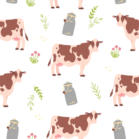 Vector flat seamless pattern with hand drawn farm domestic cow animals, floral elements and milk can isolated on white background. Good for packaging paper, cards, wallpapers, gift tags, nursery decor