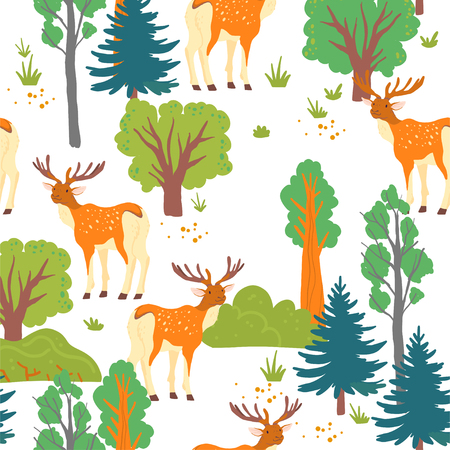 Vector flat seamless pattern with wild forest: trees, bush and deer animal isolated on white background. Good for packaging paper, cards, wallpapers, gift tags, nursery decor, cards, prints design etc