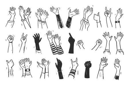 Vector collection of human hands up, gestures, thumb up, greeting, applause so on isolated on white background. Hand drawn, flat, sketch style. For cards, advertising, banners, invitations, tags etc. Ilustrace