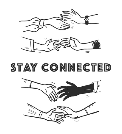 Vector illustration set of hand drawn sketch human hands touching, reach for each other isolated on white background. Contour drawing. Connection, togetherness, partnership, love, friendship concept.