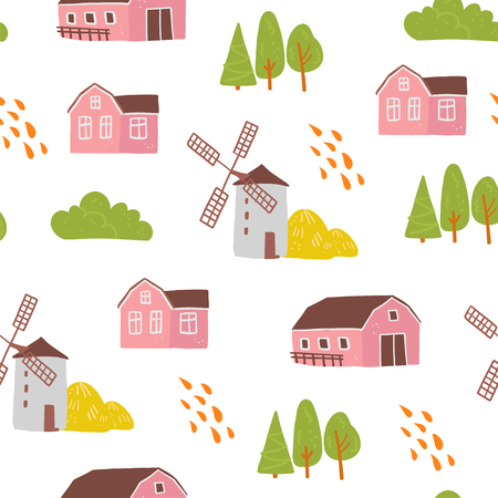 Vector flat seamless pattern with hand drawn farm domestic building, house, mill, trees isolated on white background. Good for packaging paper, cards, wallpapers, gift tags, nursery decor etc. Illustration