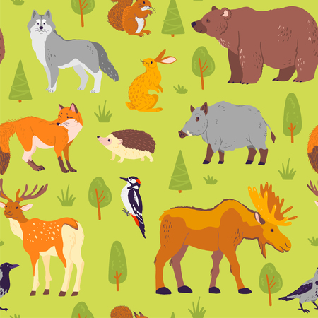 Vector flat seamless pattern with wild forest animals, birds and trees isolated on green background. Bear, wolf, hedgehog, fox. Good for packaging paper, cards, wallpaper, gift tags, nursery decor etc