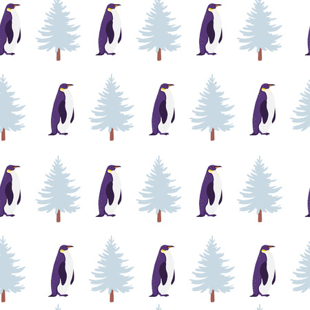 Vector flat seamless pattern with hand drawn north penguin animals isolated on winter landscape. Good for packaging paper, cards, wallpapers, gift tags, nursery decor etc.