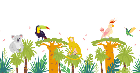 Vector flat tropical seamless pattern with hand drawn jungle trees and elements, koala, monkey animals, parrot, toucan birds isolated. For packaging paper, cards, wallpapers, gift tags, nursery decor. Ilustrace