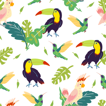 Vector flat tropical seamless pattern with hand drawn jungle monstera leaves, toucan, hummingbird, parrot birds isolated. For packaging paper, cards, wallpapers, gift tags, nursery decor etc. Foto de archivo - 128615551