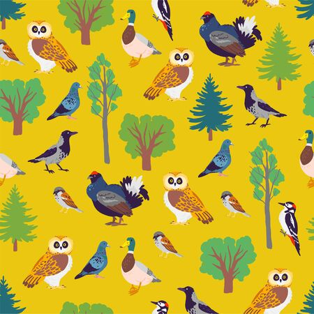 Vector flat seamless pattern with hand drawn forest birds and floral wild nature trees elements isolated on yellow background. For packaging paper, cards, wallpapers, gift tags, nursery decor etc. Ilustracja