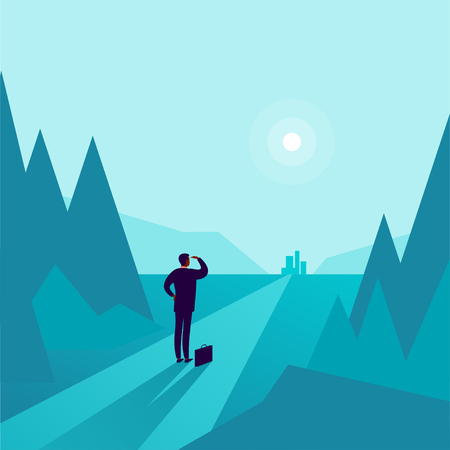 Business concept illustration with businessman standing at forest edge and watching on horizon city. Metaphor for new aims, goals, purpose, achievements and aspirations, motivation, overcoming. Illustration
