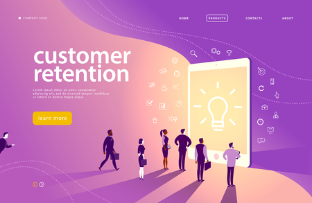 Vector web page concept design with customer retention theme - office people stand at big digital tablet screen. Landing page, mobile app, site template. Line art, business icons. Inbound marketing. Stock Illustratie