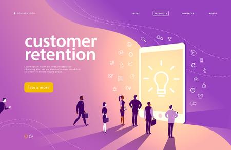 Wektor koncepcja strony internetowej z motywem utrzymania klienta - ludzie biurowi stoją na dużym ekranie cyfrowego tabletu. Strona docelowa, aplikacja mobilna, szablon witryny. Grafika liniowa, ikony biznesu. Marketing przychodzący. Ilustracje wektorowe