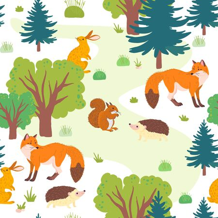 Vector flat seamless pattern with wild forest trees, grass and animals isolated on white background. Fox, hedgehog, squirrel, hare. For packaging paper, cards, wallpapers, gift tags, nursery decor etc Foto de archivo - 129328515