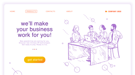 Vector flat landing page design template. Teamwork, company support concept. Online business solutions. Hand drawn sketch style illustration of office people brainstorming. For mobile app, ui, web. Stock Illustratie