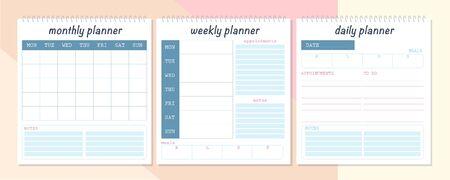 Ensemble de vecteur de modèle de conception de page de planificateur mensuel, hebdomadaire et quotidien. Mise à plat, maquette. Couleurs pastel. Équipement de bureau d'affaires.